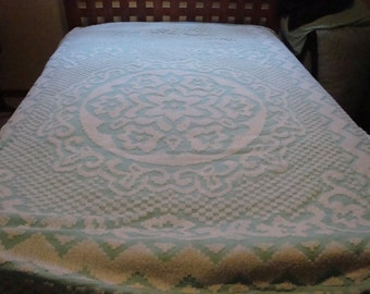 FREE SHIPPING Vintage Chenille Bedspread - AQUA