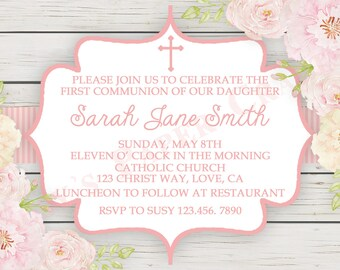 Floral First Communion Invitation, Digital File, You Print