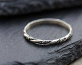 Marta ring - stacking ring, dainty ring, Sterling silver stackable ring, oxidized floral ring