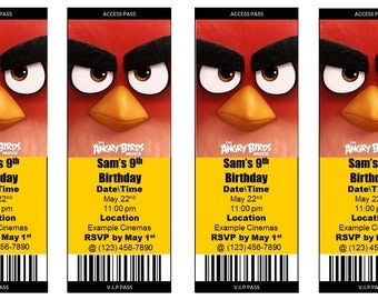 The Angry Birds Movie Ticket Invitation - (Print at Home Personalized Digital File)