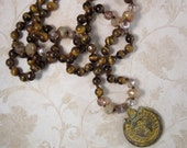 Long Bohemian Necklace, Sun Pendant with Tiger Eye Gemstones, Knotted Boho Necklace, Brown Beaded Necklace, Hand Knotted, Mayan Sun