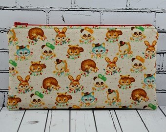 Cute Retro Kitsch Animals Pencil Case