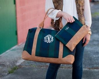 Plaid Weekender Bag with Monogram