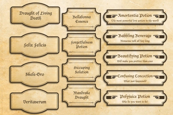Harry Potter labels party printables Harry Potter party