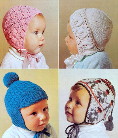 Vintage Knitting Patterns Baby Hats : Vintage Knitting Pattern Baby Bonnet Hat Lace Leaf Peruvian