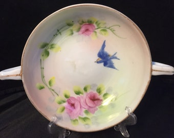 H001  Hand painted Nippon bowl with handles