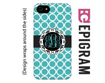Aqua monogram iPhone 5s case, personalized iPhone case, custom iPhone 5c case, personalized iPhone 4s phone cases, iPhone tough case