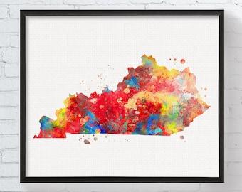 Kentucky State, Kentucky Watercolor Map, Kentucky Print, Kentucky Map, Kentucky Wall Decor, Kentucky Poster, Colorful Wall Art, Dorm Decor