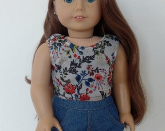 SALE  - American Girl Doll Clothes - Sleeveless Floral Crop top