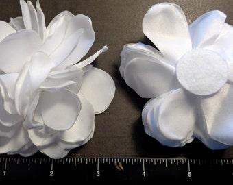 "1 Each 3.5"" White Singed Fabric Flower - Hair Bow Embellishment"