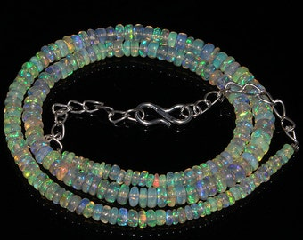 40  Crt Natural Ethiopian Welo Fire Opal Smooth Rondelle Beads Necklace 5276