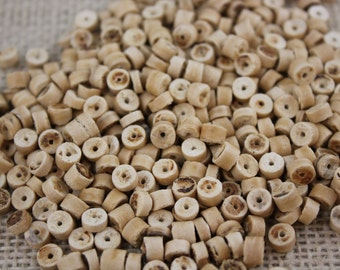 Vintage 5mm Natural Wood Heishi Beads (100 Pieces)