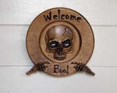 Skull Welcome Sign, Gothi...