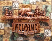 Welcome Sign Wood ~ Bears Cabin Decor ~ Carved Welcome Sign Wood ~ Wood Carving ~ TheWoodGrainGallery