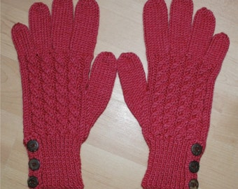Merino Wool Gloves - Red - Cable Pattern and Buttoned Cuff