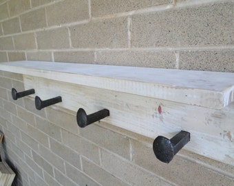 Railroad Spike Coat rack with Shelf, Wall Coat Rack, Distressed Old Wood, 4 Spike Hooks, Rustic, Reclaimed
