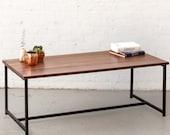The Flapjack Coffee Table - Walnut with Black Powder Coated Steel - Walnut Furniture