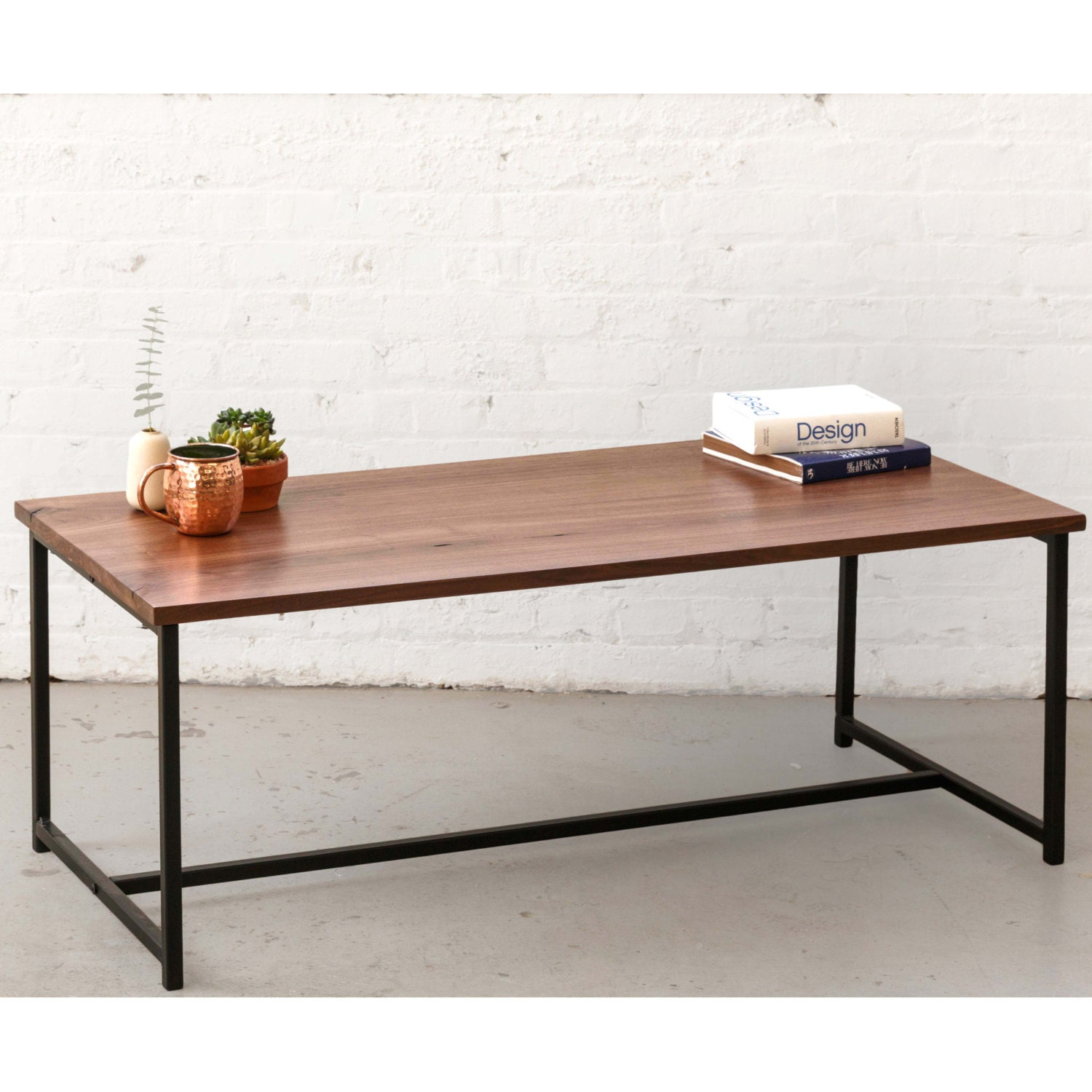 Fabricated Steel Coffee Table: The Flapjack Coffee Table Walnut With Black Powder Coated