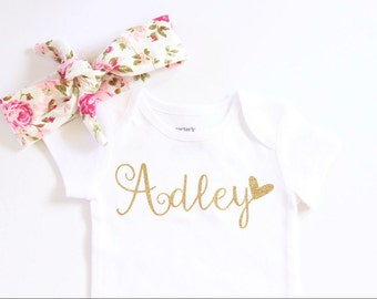 Baby girl clothes, Personalized Gold Glitter Baby Girl clothes, gold glitter shirt, personalized shirt, baby girl outfit, baby girl shirt