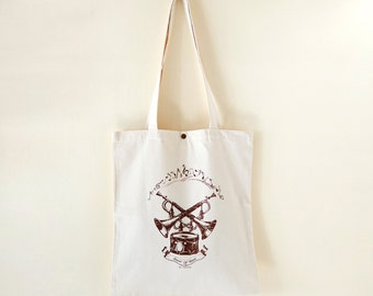 Cotton canvas Vintage Pattern Tote Bag---Power Of Music (On Sale NOW!!)