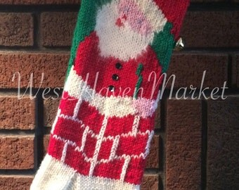 PDF for Vintage Santa in Chimney Christmas Stocking PATTERN