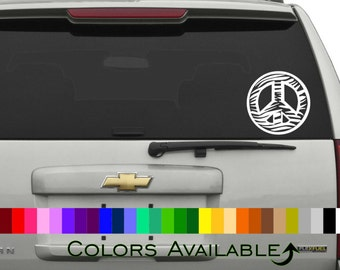 Zebra Peace Sign Outline Car Decal