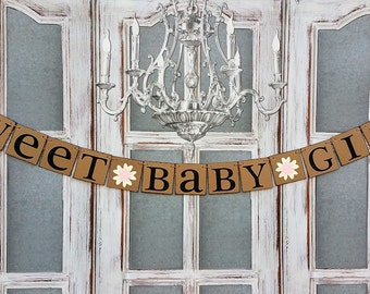 BABY GIRL SHOWER Decorations - Floral Baby Shower BANNERs - rustic baby shower Banner