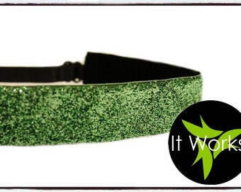 It Works Global Inspired Lime Green Sparkle No-Slip Adjustable Headband Apparel