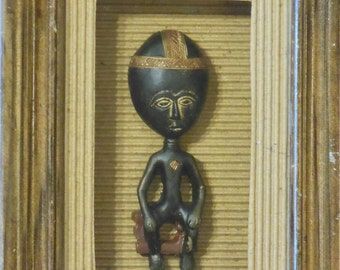 Carved Stone African Figure, Shadowbox.