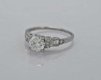 0.94ct. Diamond & Platinum Engagement Ring Art Deco - J35429