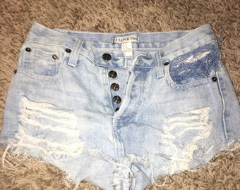 High waisted hand made shorts