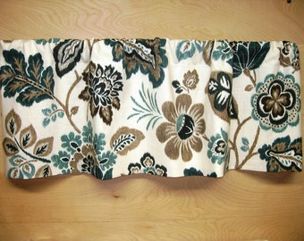 Gathered Straight-Hem Rod Pocket Valance in Braemore Kazoo color Seaglass Window Treatment Kitchen Office Dining Living Bath Bedroom Porch