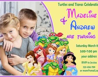 SALE TMNT Birthday Invitation, disney princess Birthday Invitation, twins birthday invitation,siblings invitation - Digital file