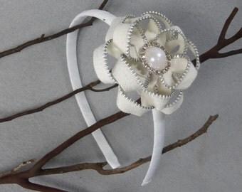 White Flower Headband -Zipper Flower - Zipper Headband - Upcycled - Recycled -Repurposed -Girls Headband -Womens Headband -Baby Headband