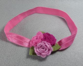 Pink Felt Headband - Felt Flower Headband - Baby Headband - Girls Headband - Head Band - Infant Headband - Fake Flower - Artificial Flower