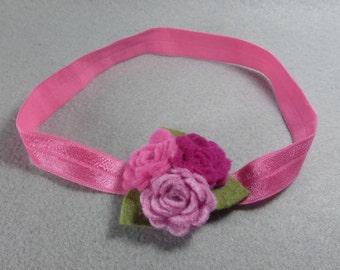 Baby Girl Headband - Pink Felt Flower Headband, Elastic Stretchy Headband, Baby Headband, Infant Headband, Womens Headband