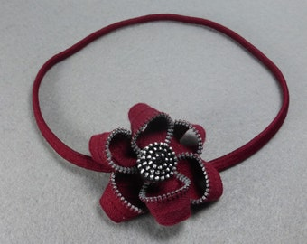 Red Flower Headband - Zipper Flower -Upcycled -Recycled -Repurposed - Elastic Headband -Baby Headband -Womens Headband - Girls Headband