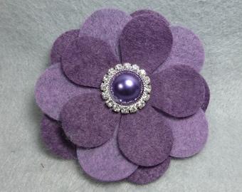 Felt Flower Brooch - Purple Flower Pin, Felt Pin, Felt Brooch, Fabric Flower, Felt Flower Pin, Felt Jewelry