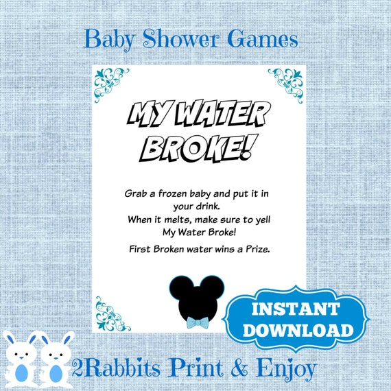 mouse my water broke game sign frozen baby game disney baby shower