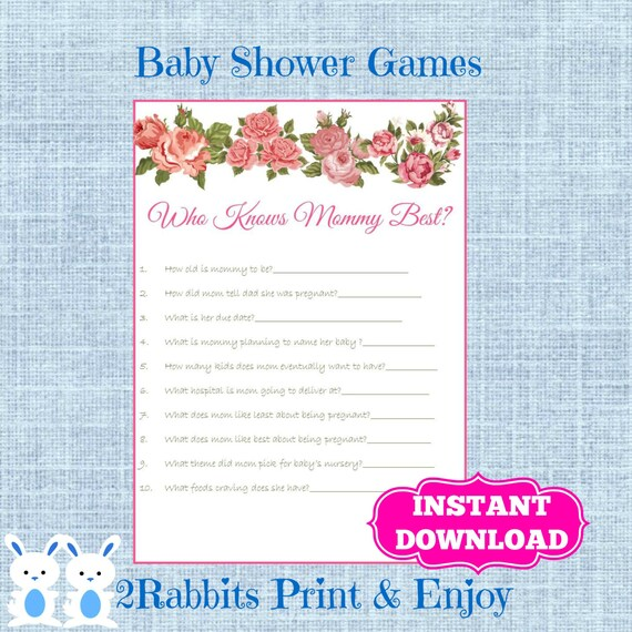 floral baby shower game who knows mommy best flower baby shower who