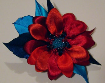 Handmade satin flower brooch, handmade red - blue flower clip & pin, dasy