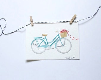 Original Watercolor Bicycle Painting, Watercolor Painting, Bicycle Print, Bicycle art, Bicycle Wall Art, Bicycle Basket, Wall Art, Bathroom