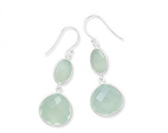 Enchanting Chalcedony Sea Green Drop Earrings