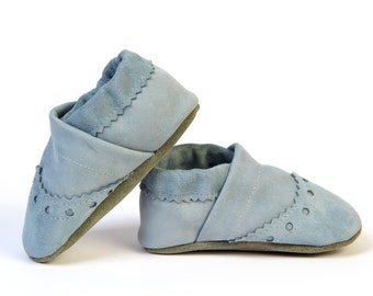 Baby Boy Brogue Leather Slipper Shoes Soft-Sole infant gift light blue Size 3 - 7
