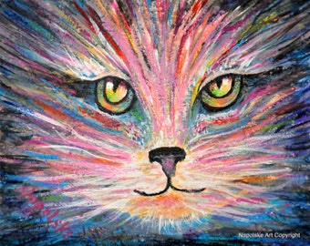 """Fine Art Print  """"Abstract Cat Eyes""""    Print by Napolske Art Painting"""