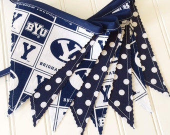 BYU Bunting Banner, BYU, Party Decor, Wedding Decor, Photo Prop, Fabric Bunting, Fabric Banner, Pennant Banner, Garland, Wall Hanging