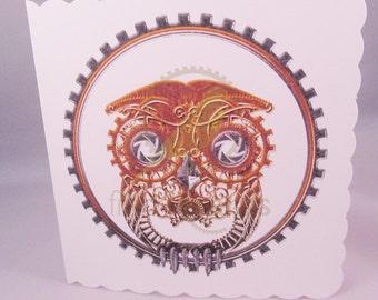 Cute Steampunk Owl Blank Card, Owl Card, Steampunk Card, UK