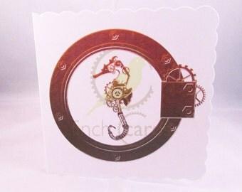Steampunk Seahorse Blank Card, Seahorse Card, Steampunk Card, UK