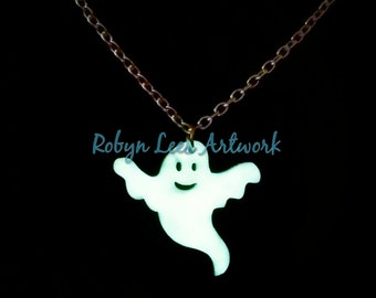 SALE White Glow in the Dark Ghost Necklace on Silver Crossed Chain. Halloween.