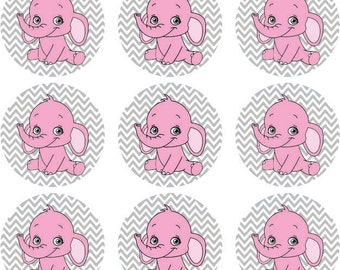 Pink Baby Elephant Cupcake Toppers, Elephant Baby Shower Decorations, Pink and Chevron Toppers, Printable Cupcake Toppers